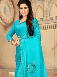 Blue Embroidered Art Silk Traditional Saree