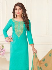 Blue Embroidered Casual Churidar Suit