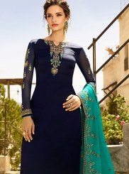 Blue Embroidered Churidar Designer Suit