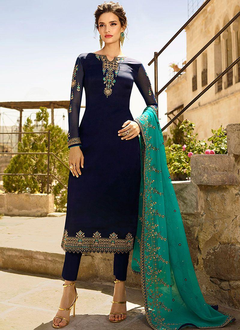 Blue Embroidered Churidar Designer Suit
