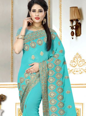 Blue Embroidered Classic Designer Saree