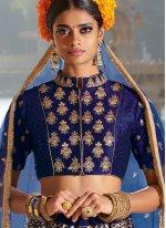 Blue Embroidered Designer A Line Lehenga Choli