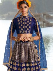 Blue Embroidered Designer A Line Lehenga Choli