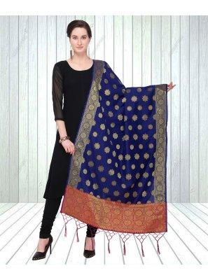 Blue Embroidered Designer Dupatta