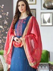 Blue Embroidered Designer Palazzo Suit