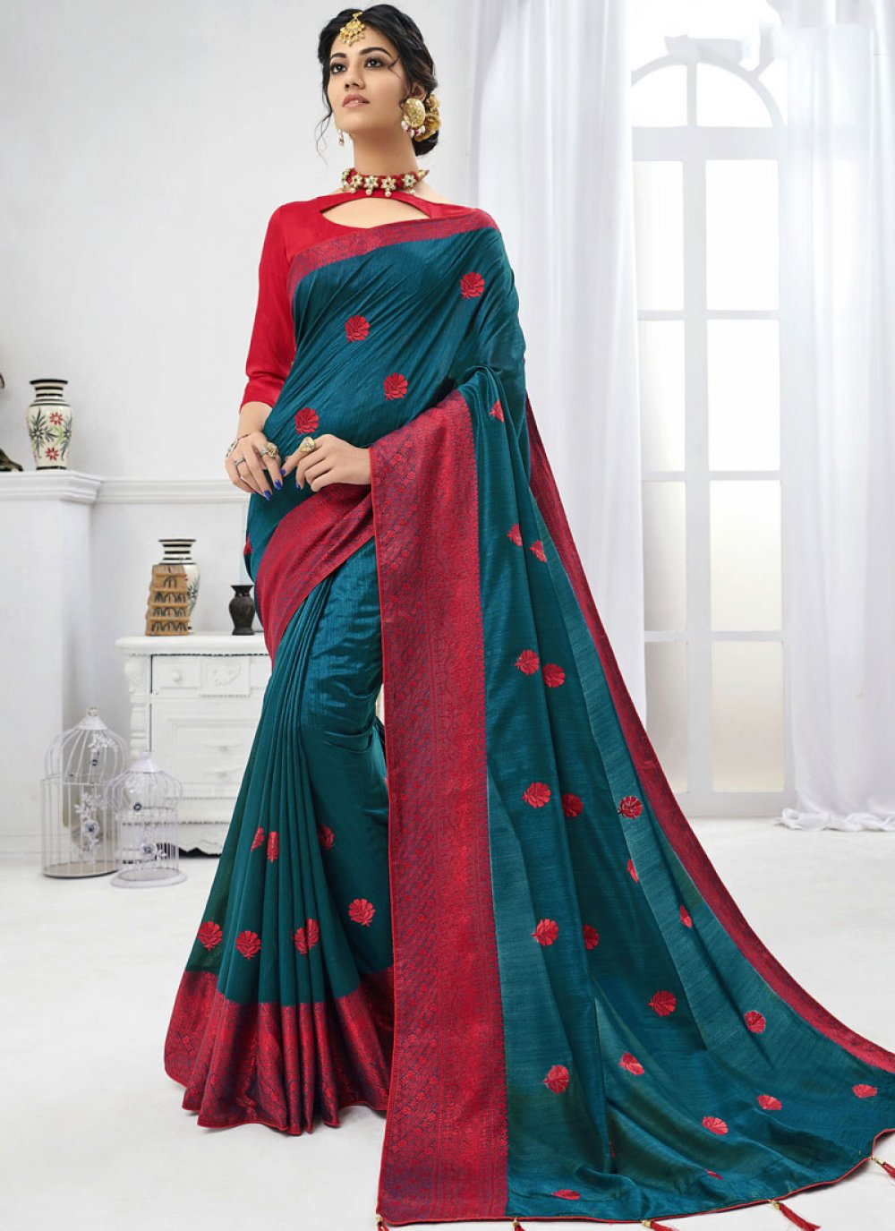 Blue Embroidered Faux Chiffon Trendy Saree