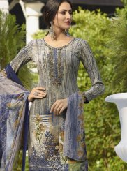 Blue Embroidered Faux Crepe Designer Salwar Kameez