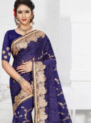 Blue Embroidered Faux Georgette Classic Designer Saree