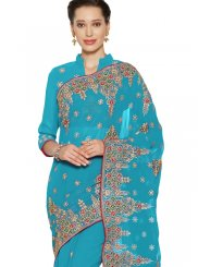 Blue Embroidered Faux Georgette Saree