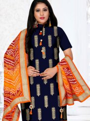Blue Embroidered Festival Churidar Designer Suit