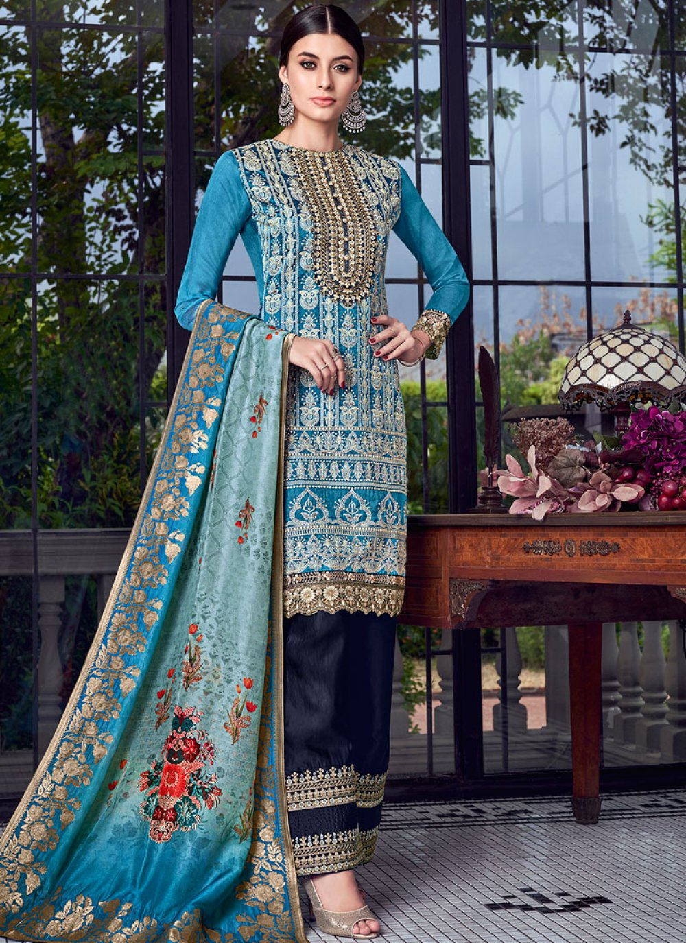 Blue Embroidered Festival Designer Pakistani Suit