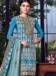 Blue Embroidered Festival Designer Pakistani Suit