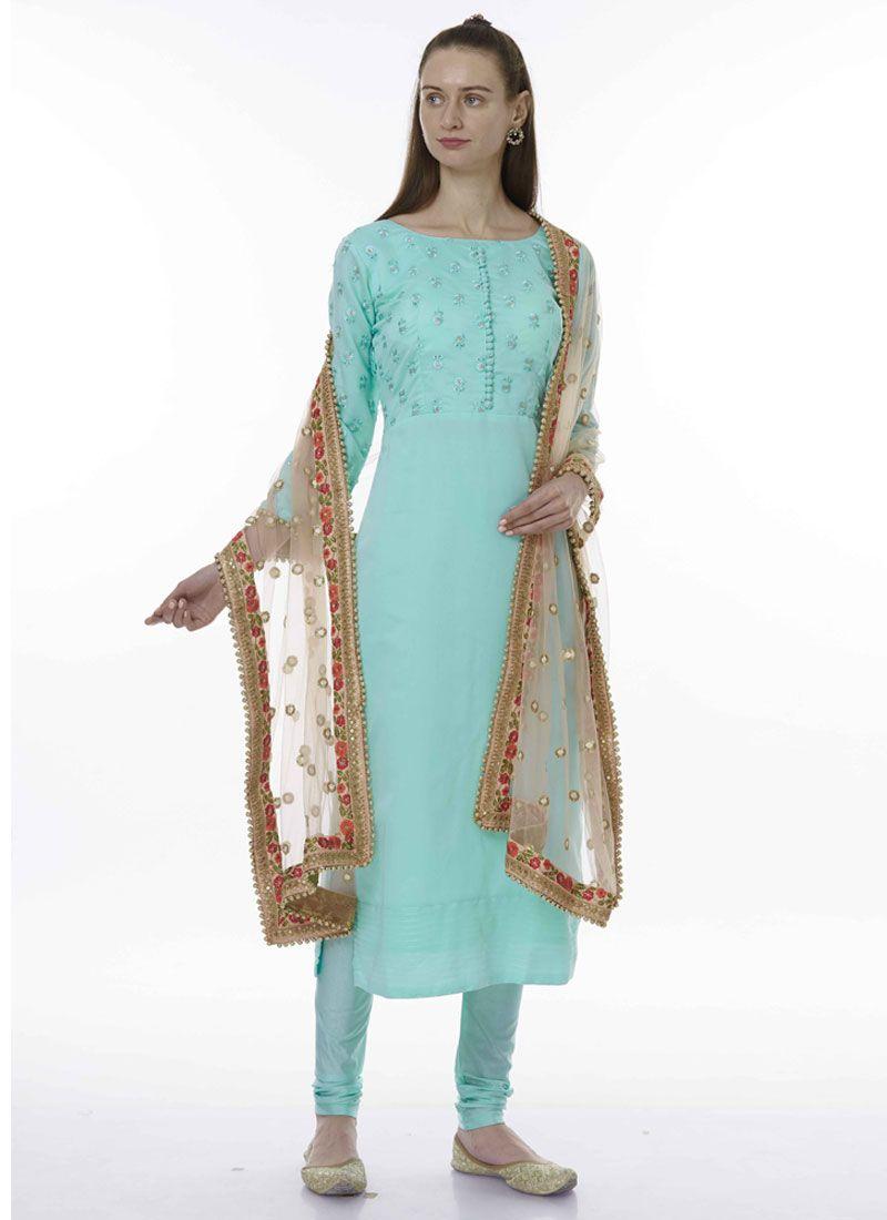 Blue Embroidered Festival Designer Salwar Kameez