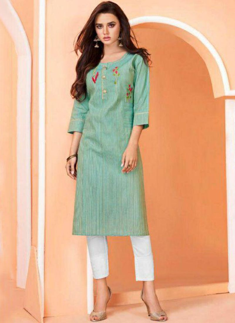 Blue Embroidered Festival Party Wear Kurti