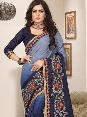 Blue Embroidered Festival Shaded Saree