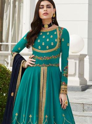Blue Embroidered Floor Length Anarkali Suit