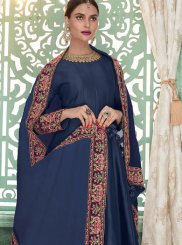 Blue Embroidered Floor Length Anarkali Suit