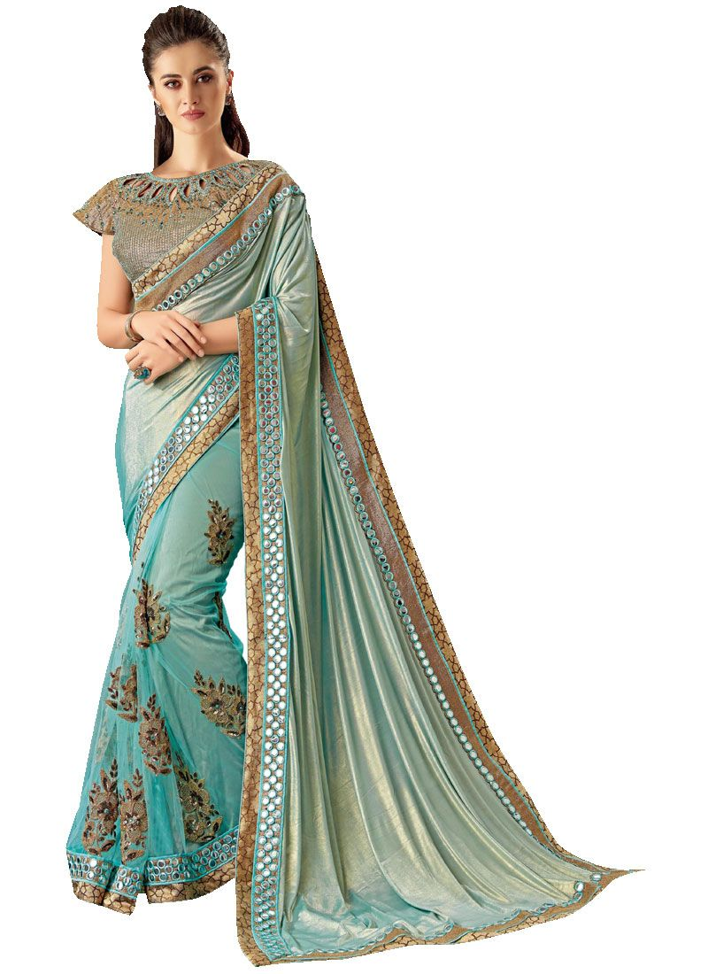 Blue Embroidered Net Classic Designer Saree