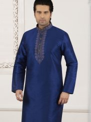 Blue Embroidered Party Kurta Pyjama