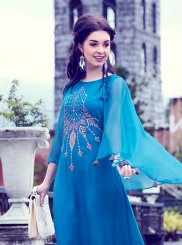 Blue Embroidered Party Party Wear Kurti