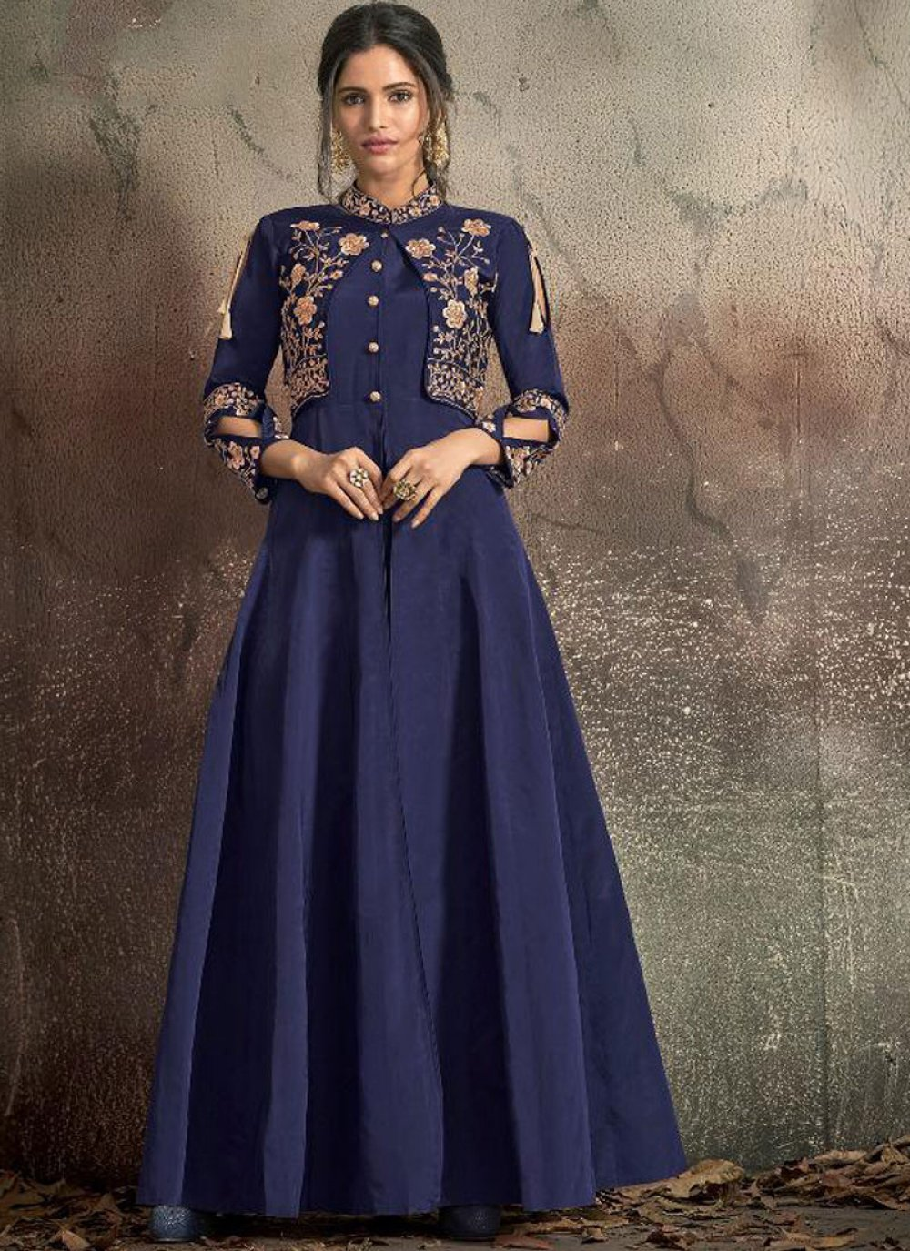 Blue Embroidered Party Readymade Trendy Gown