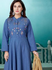 Blue Embroidered Readymade Suit