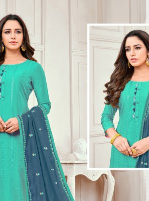 Blue Embroidered Salwar Kameez