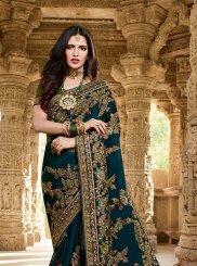 Blue Embroidered Sangeet Classic Saree