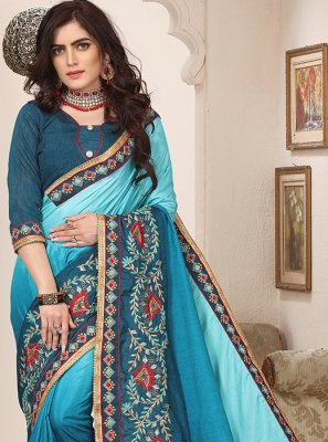 Blue Embroidered Shaded Saree
