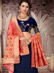 Blue Embroidered Silk Designer Lehenga Choli