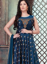 Blue Embroidered Tafeta Silk Designer Gown