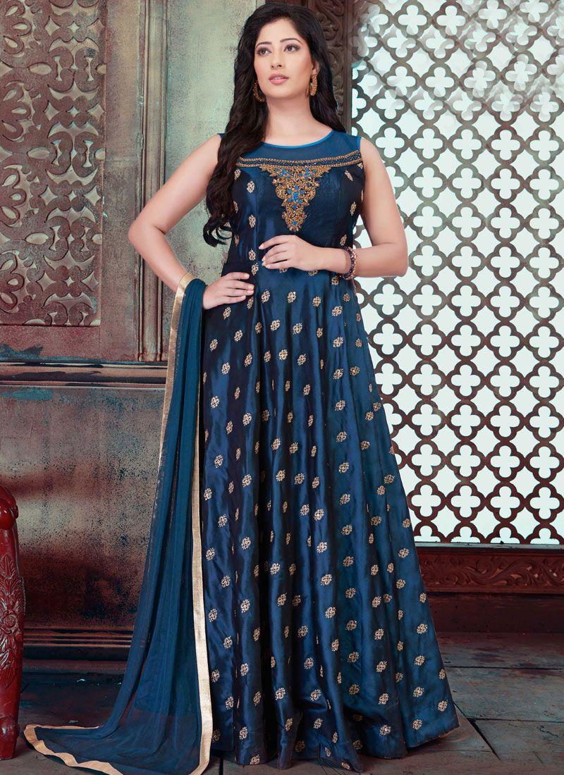 Blue Embroidered Tafeta Silk Designer Gown
