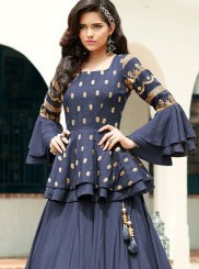 Blue Embroidered Trendy A Line Lehenga Choli