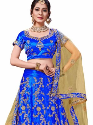 Blue Embroidered Trendy Lehenga Choli