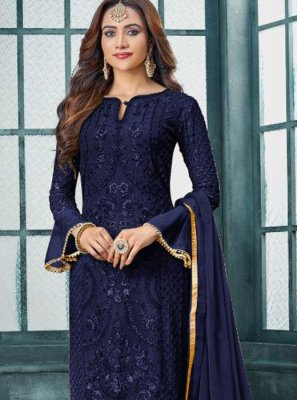 Blue Embroidered Trendy Pakistani Suit