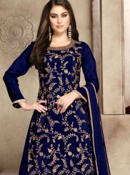 Blue Embroidered Trendy Palazzo Salwar Kameez