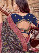 Blue Embroidered Trendy Saree