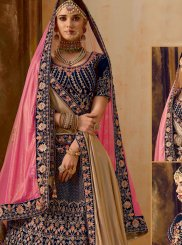 Blue Embroidered Velvet Trendy A Line Lehenga Choli