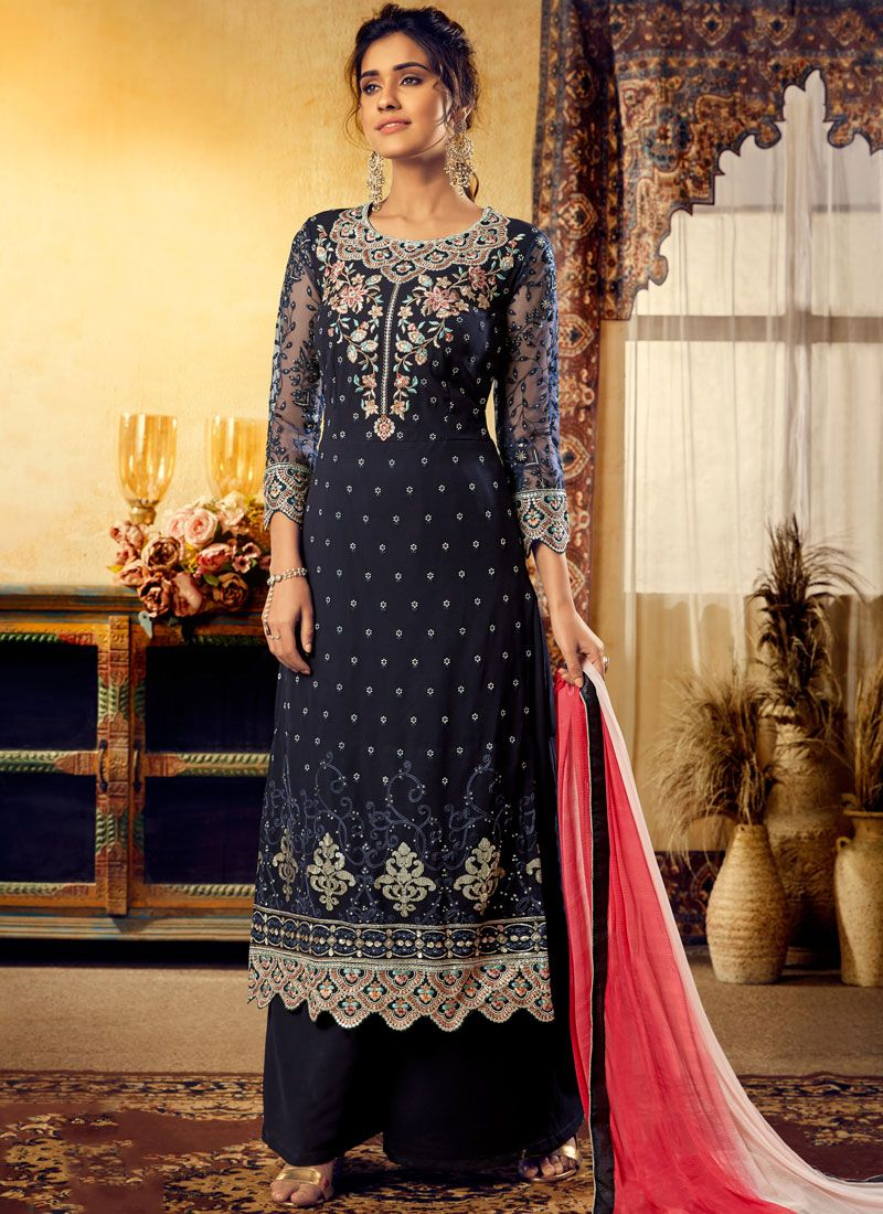 Blue Embroidered Viscose Trendy Palazzo Salwar Suit