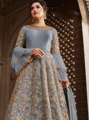 Blue Embroidered Wedding Anarkali Salwar Suit