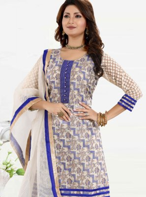 Blue Fancy Banglori Silk Churidar Designer Suit
