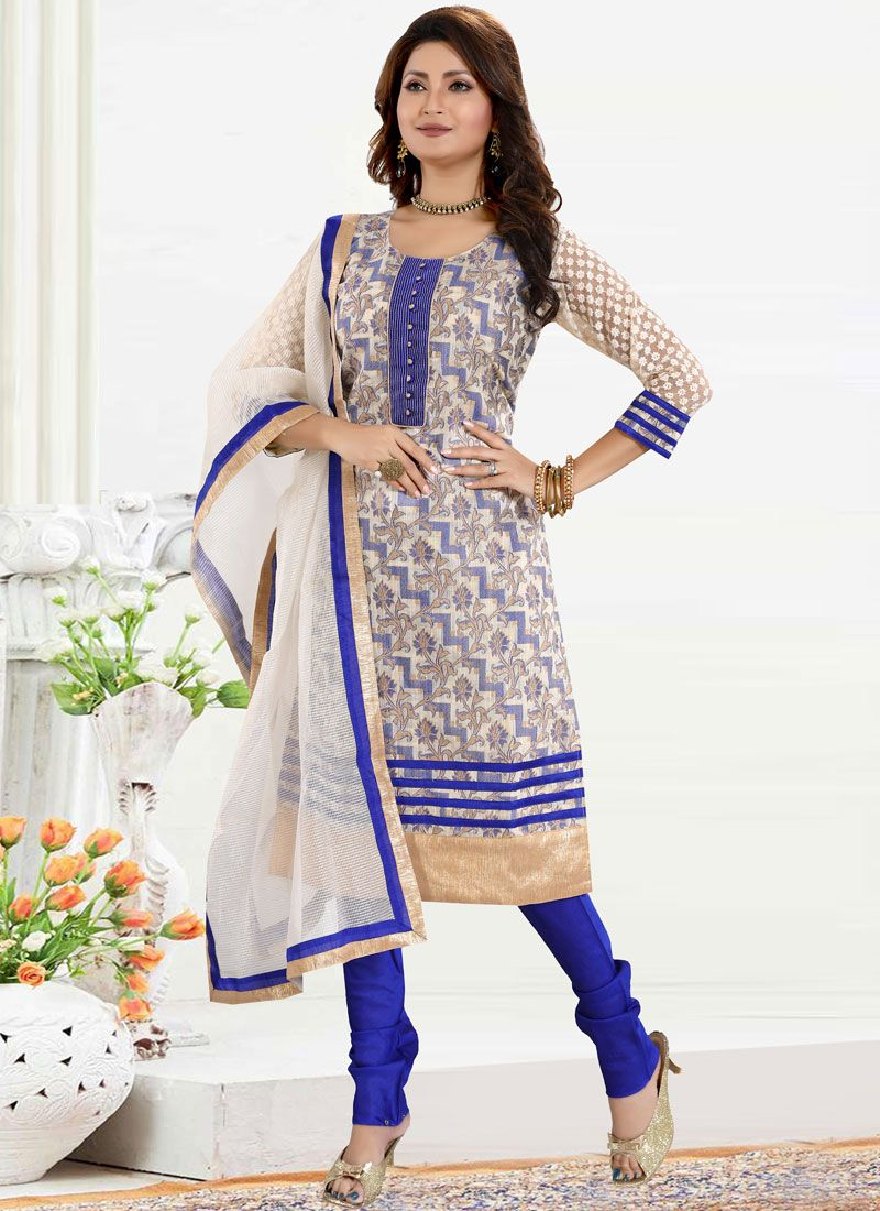 Blue Fancy Banglori Silk Churidar Designer Suit