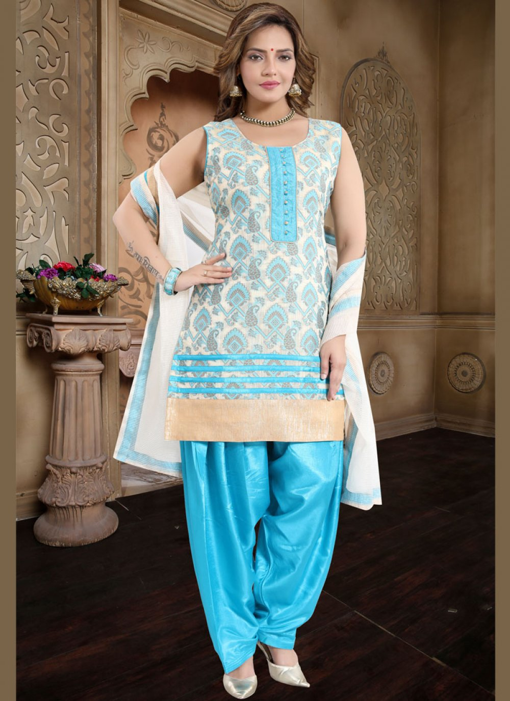 Blue Fancy Banglori Silk Readymade Suit