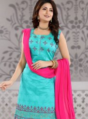 Blue Fancy Ceremonial Churidar Designer Suit