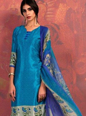 Blue Fancy Fabric Casual Churidar Suit