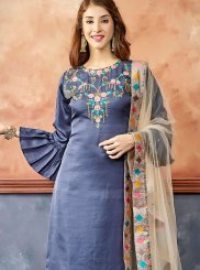 Blue Fancy Fabric Ceremonial Readymade Suit