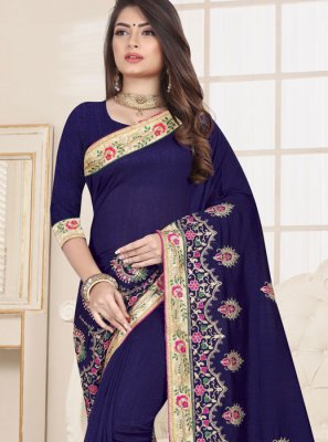 Blue Fancy Fabric Ceremonial Traditional Saree