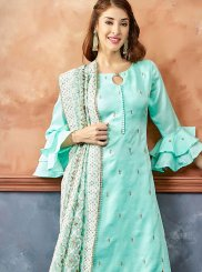 Blue Fancy Fabric Embroidered Readymade Suit