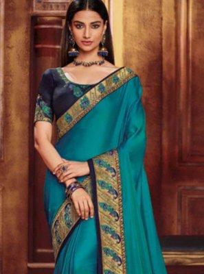 Blue Fancy Fabric Festival Traditional Designer Saree