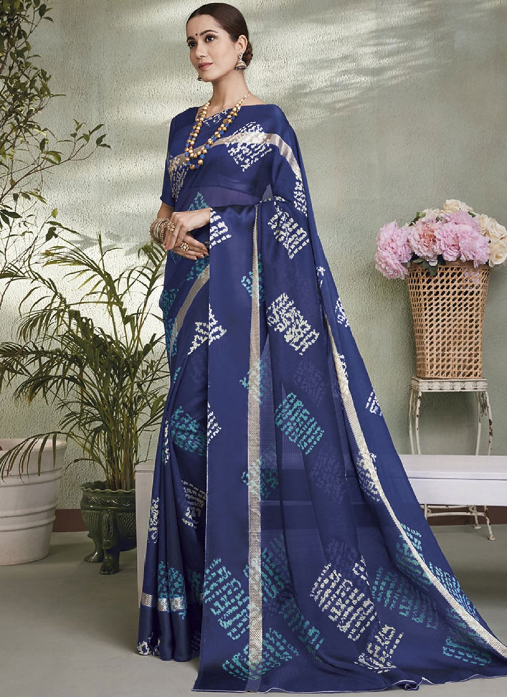 Blue Fancy Fabric Printed Saree